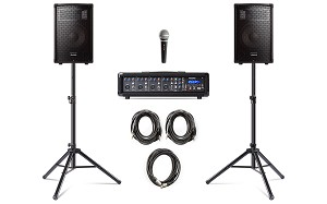 Alesis PA System In Box - 280-WATT (80 WATTS CONTINUOUS) with Stands and Mic